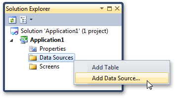 Adding a data source to a LightSwitch application