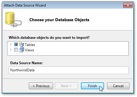 Choosing data objects in LightSwitch