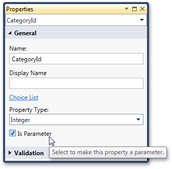 Making a local property a parameter in LightSwitch