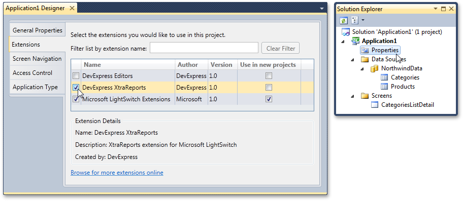 How to add Xtrareports extension to a LightSwitch application