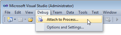 Attaching to a Process in Visual Studio