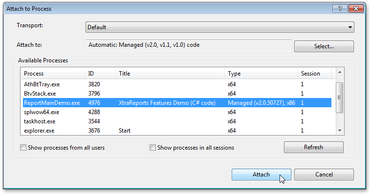 How to attach to a process in Microsoft Visual Studio