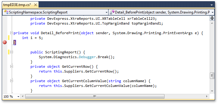 Setting a breakpoint at Visual Studio runtime