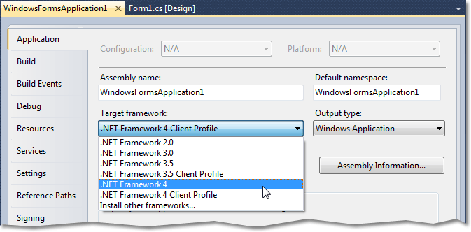 Setting an application's target framework to the full .NET Framework 4 profile
