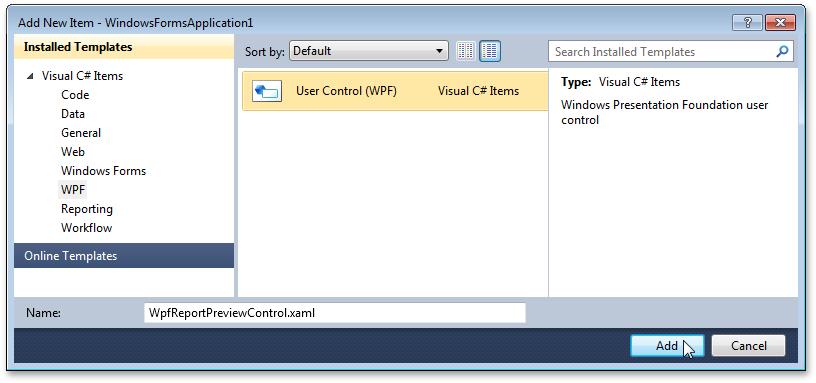 Adding a WPF User Control to the application