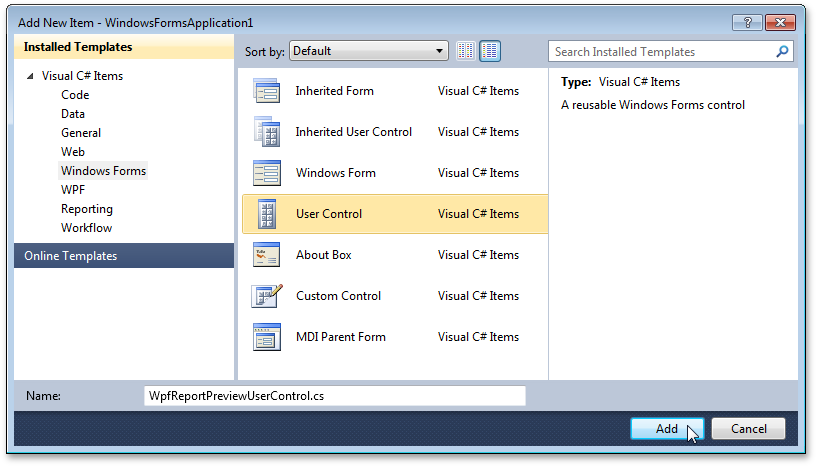 Adding a User Control to a Windows Forms application