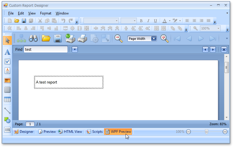 a Document Preview for WPF in the End-User Report Designer for Windows Forms