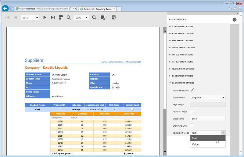 HTML5 Report Preview