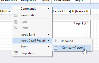 Adding Detail Band with Relationship