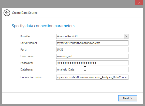 Amazon Redshift Provider Parameters