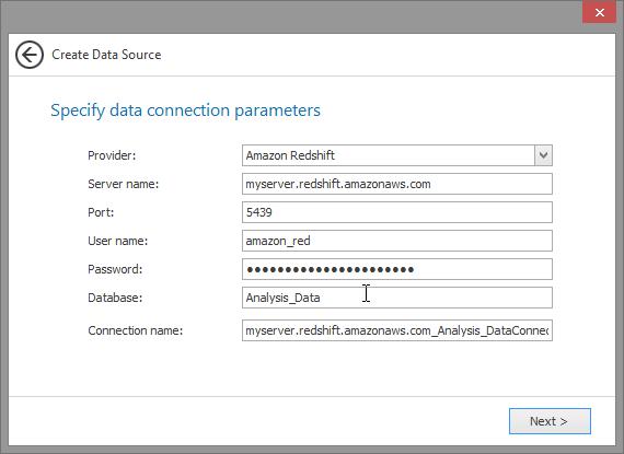 Amazon Redshift Provider Parameters