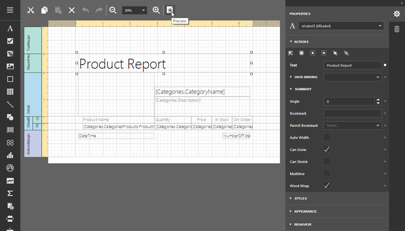 HTML5 Report Editor