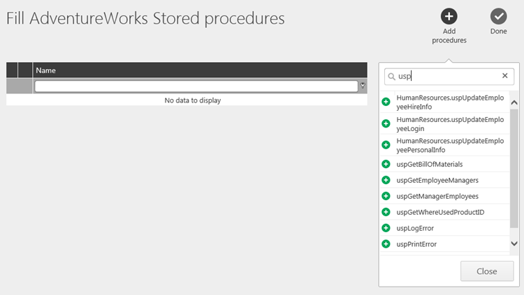 Adding Stored Procedures