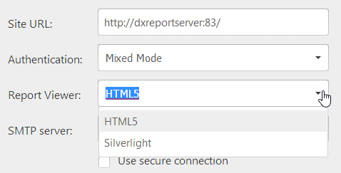 HTML5 Report Viewer Option