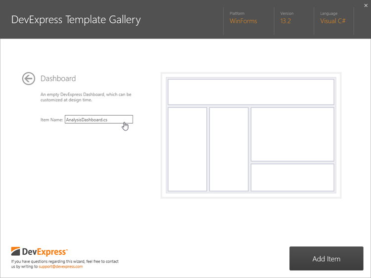 Dashboard Template Gallery Item