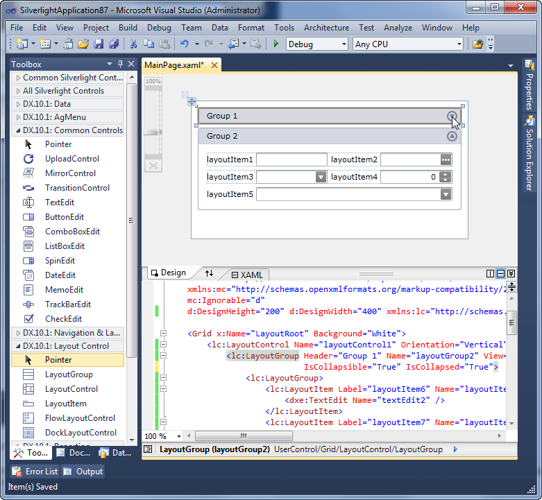 Silverlight Layout Control: Design-time Support in Visual ...