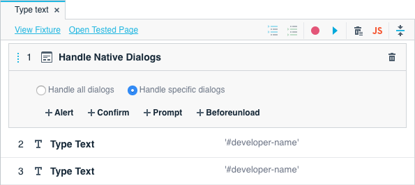 Add the Handle Native Dialogs action