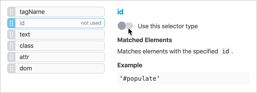 Prioritize selector types