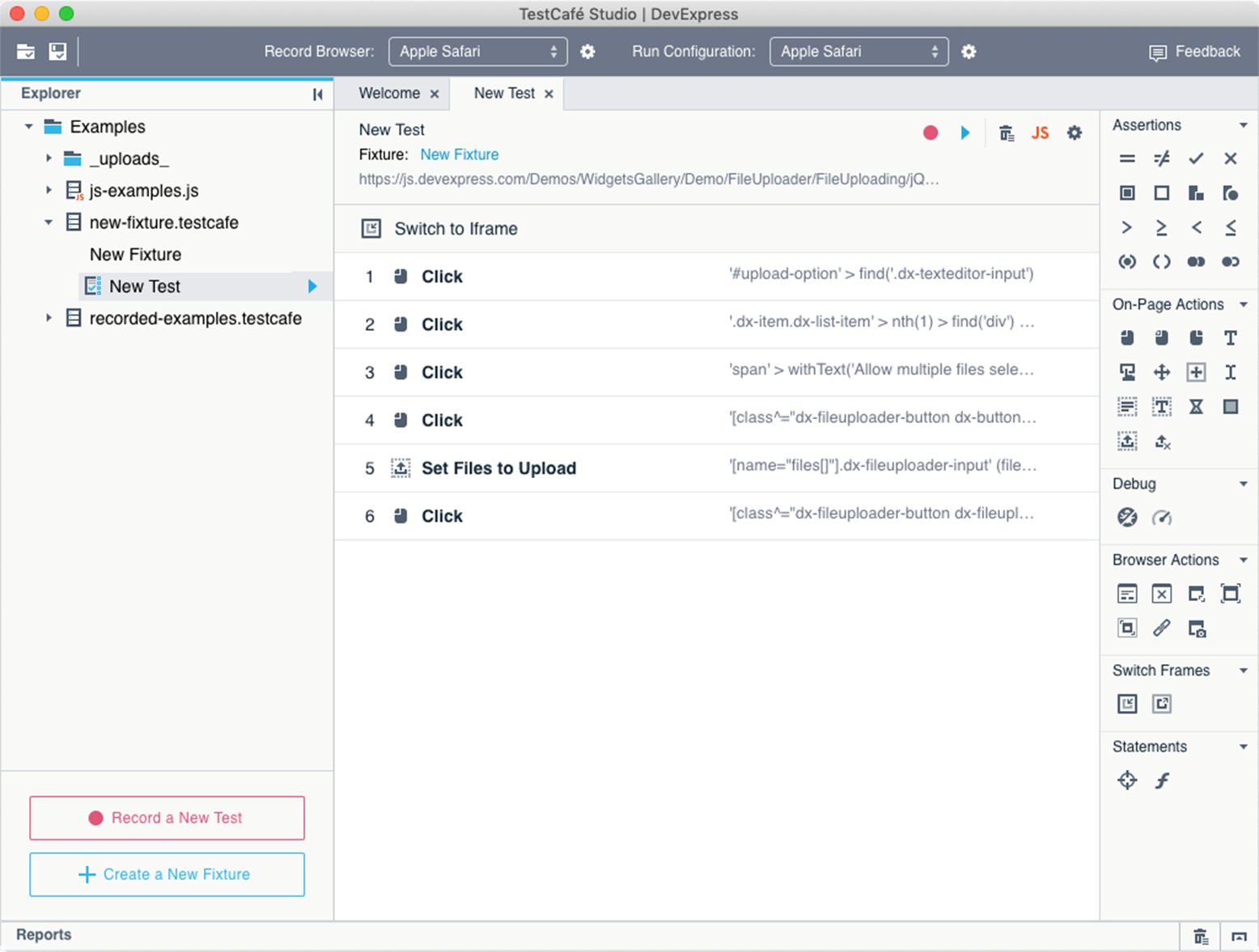 Visual Test Recorder - Action List Editor