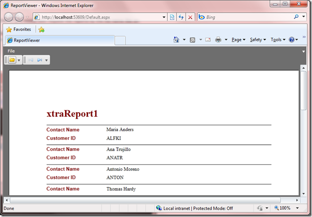 Silverlight End User Report Viewer