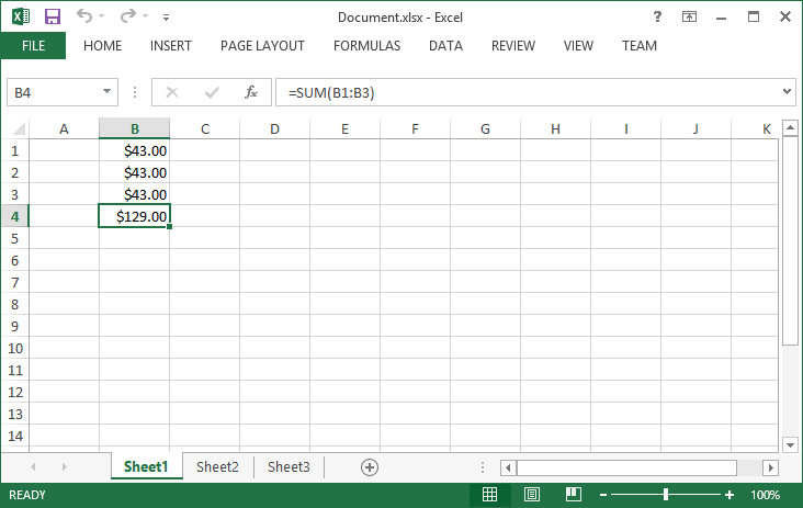 Document with a Formula Previewed in Microsoft Excel