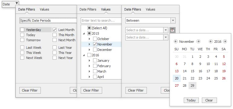 WinForms Grid v16.2 Date Filter Dropdown