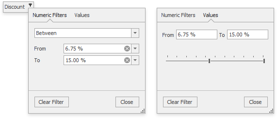WinForms Grid v16.2 Numeric Filter Dropdown