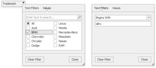 WinForms Grid v16.2 String Filter Dropdown