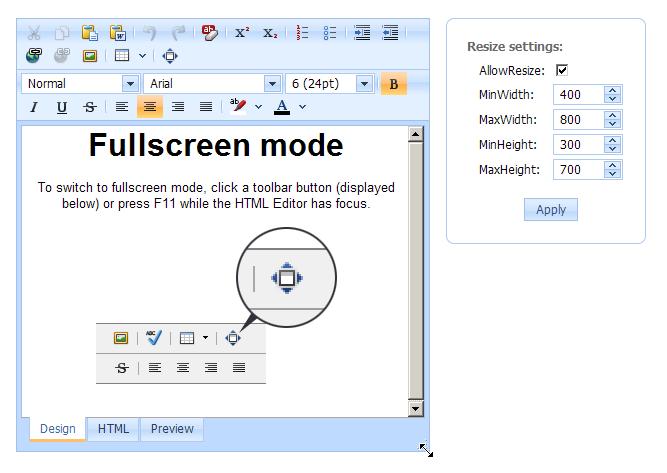 ASP.NET HTML Editor Full Screen Mode