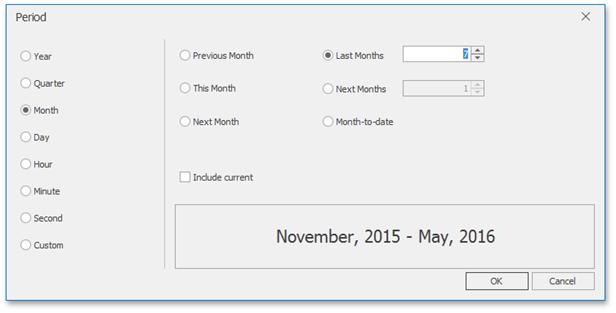 DevExpress Dashboard for .NET - Custom Range Filter Periods