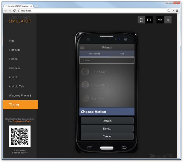 Tizen Mobile App Simulator