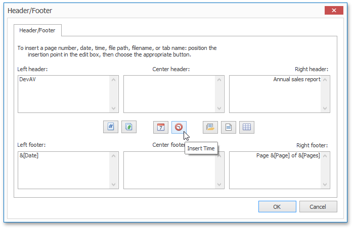 WinForms and WPF Spreadsheet - Custome Header & Footer
