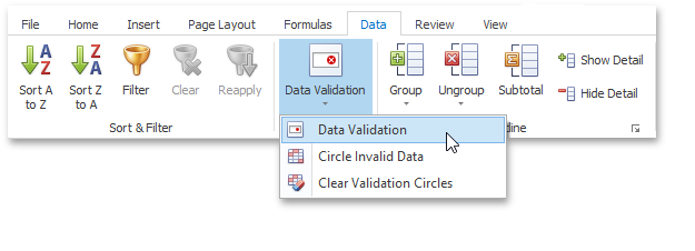 WinForms and WPF Spreadsheet - Data Validation