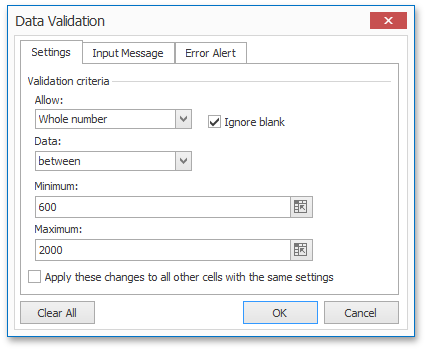 WinForms and WPF Spreadsheet - Data Validation Dialog