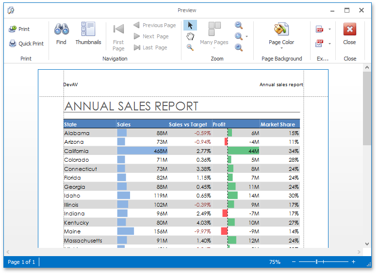WinForms and WPF Spreadsheet - Print Preview