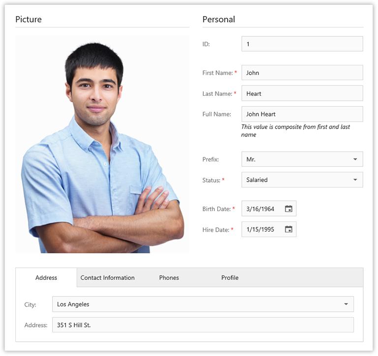HTML5 JS Form Layout Widget
