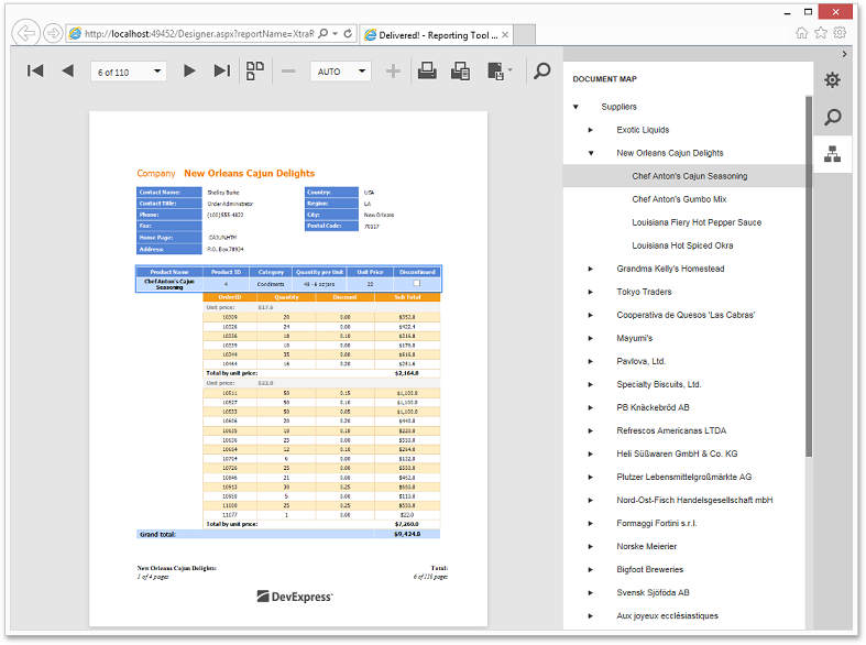 HTML5/JS Reporting Document Viewer - Print Preview
