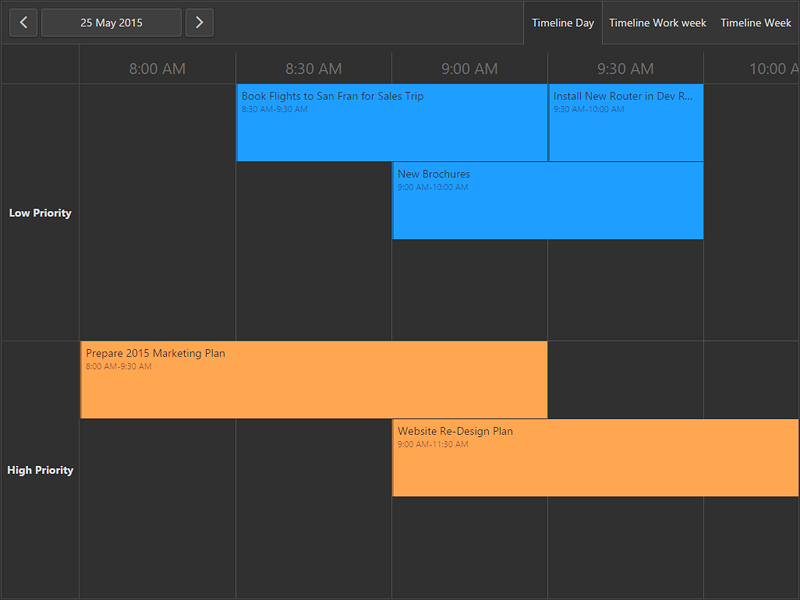 HTML5 - JavaScript - Scheduler Timeline View