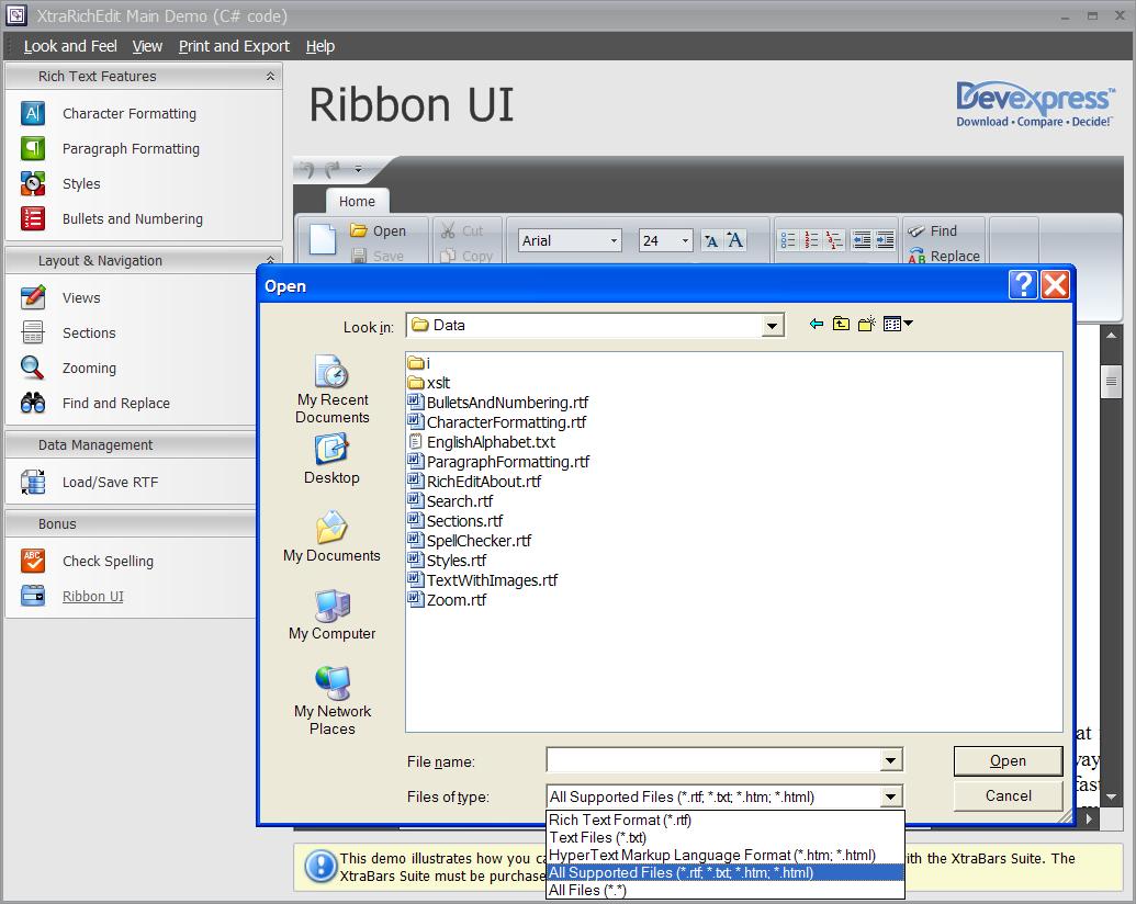 DevExpress Rich Text Edit Open Dialog - HTML