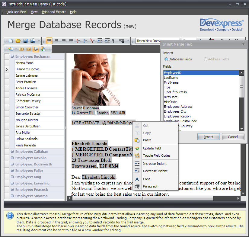WinForms RTF Control Mail Merge