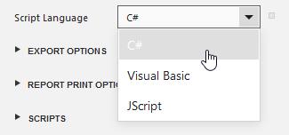 ASP.NET Report Designer Scripting Language