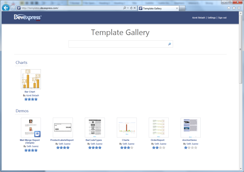 .NET Report Template Gallery