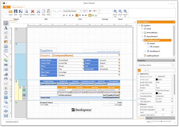 WPF Report Designer