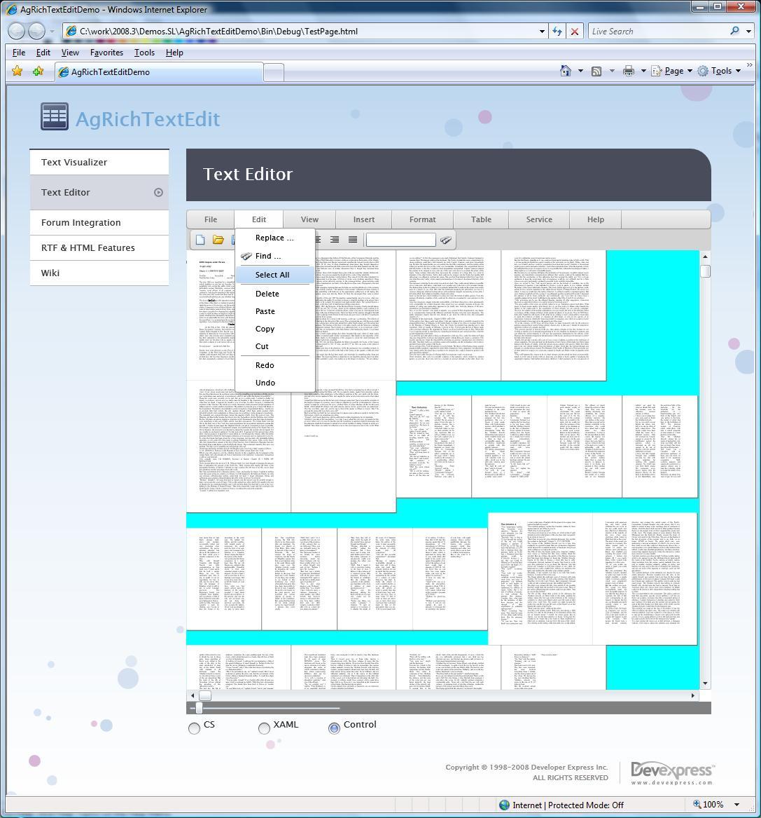 Silverlight RTF Control - Multi Page View