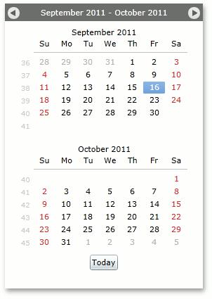 Silverlight Calendar Date Navigator Control