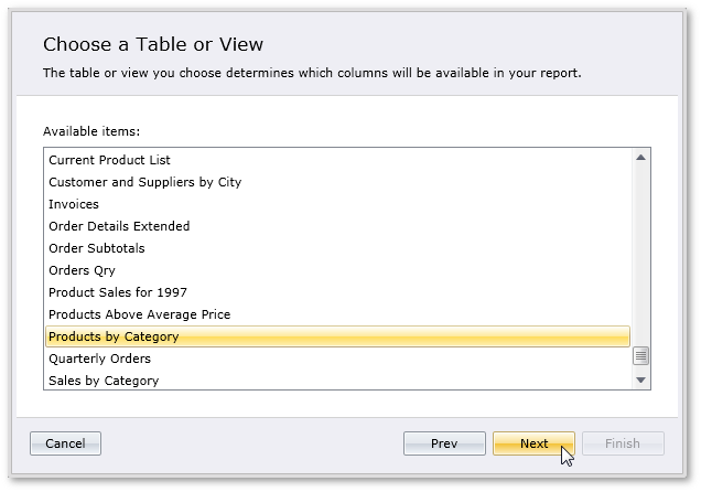 Silverlight Report Select Table or View