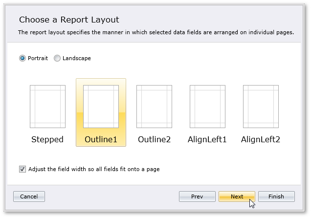 Silverlight Report Wizard Layout