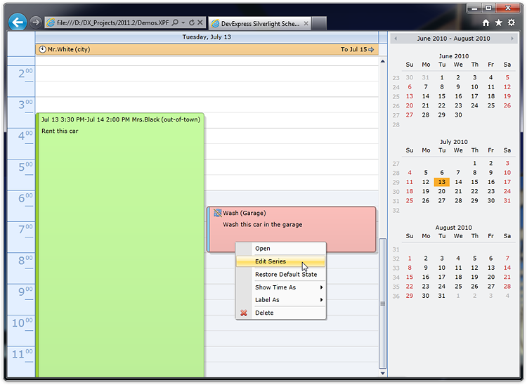 Silverlight Scheduler Day View