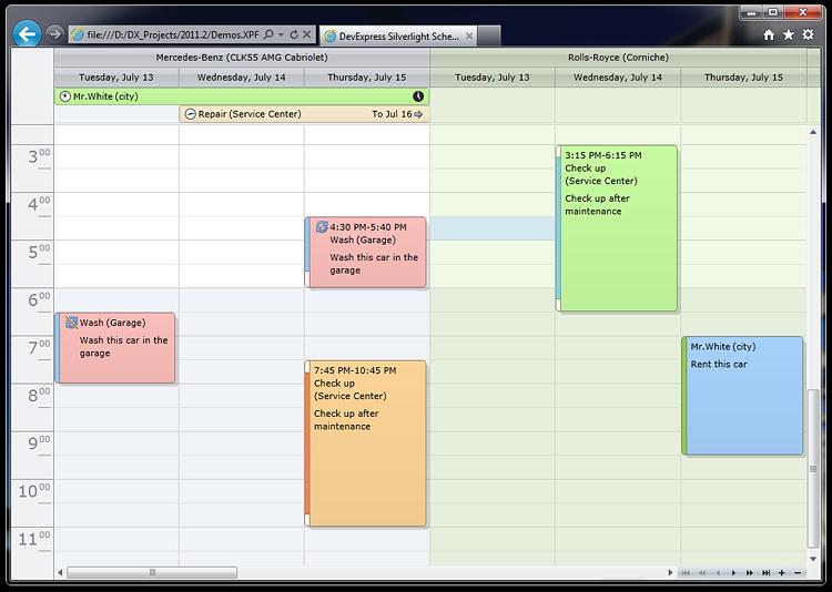 Silverlight Scheduler Calendar Control