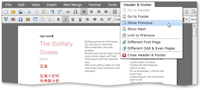 Silverlight Rich Text Control Header and Footer